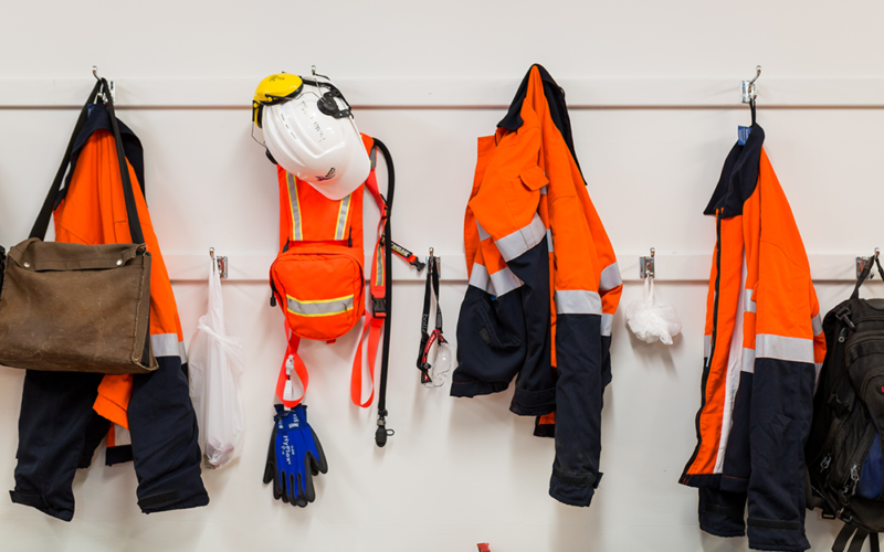 matera uniform and ppe hanging on a wall